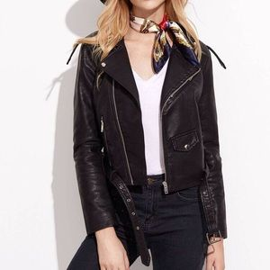 Faux Leather Moto Leather Jacket